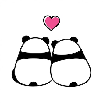 Casal bonito panda apaixonado