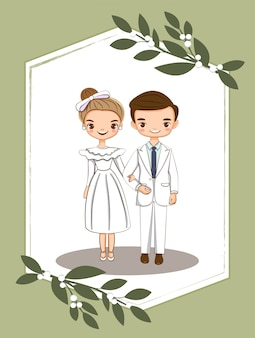Casal bonito para cartão de convites de casamento