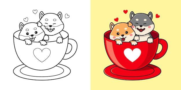 Casal bonito shiba inu em uma xícara de café. valentine clipart. página para colorir de crianças. desenho de estilo simples.
