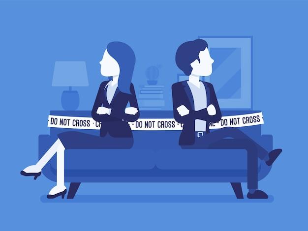 Casal briga cena em casa. disputa entre amantes, homem, mulher sentada um contra o outro no sofá com não cruze a fita, desacordo, rompa relações. ilustração com personagens sem rosto