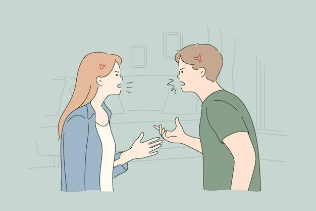 Casal, briga, conflito, divórcio, conceito de estresse