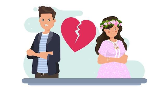 Casal brigando na ilustração dos namorados