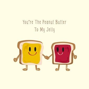 Casal brinde manteiga de amendoim e geléia de baga dia dos namorados