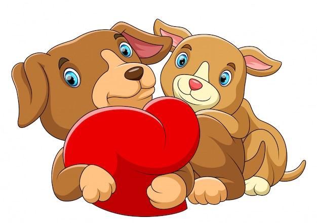 Casal cachorro apaixonado por um coração vermelho