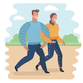 Casal caminhando com seu cachorro, ilustração isolado no fundo branco.