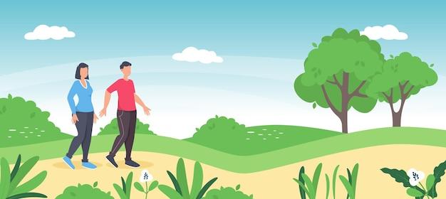 Casal caminhando juntos no parque. homem e mulher, tempo de lazer romântico da primavera. prado de verão de dois personagens caminhando juntos. campo de grama panorâmico e flores silvestres, fundo natural de férias