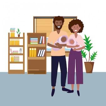 Casal carregando babys