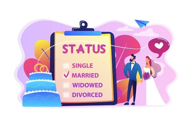Casal casado e estado civil na prancheta, pessoas minúsculas. estado de relacionamento, estado civil e separação, conceito de casamento e divórcio.