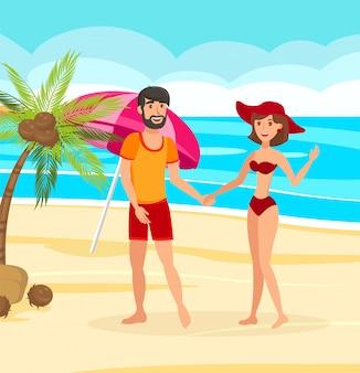 Casal casado na ilustração em vetor ilha exótica