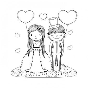 Casal casamento bonito dos desenhos animados em preto e branco