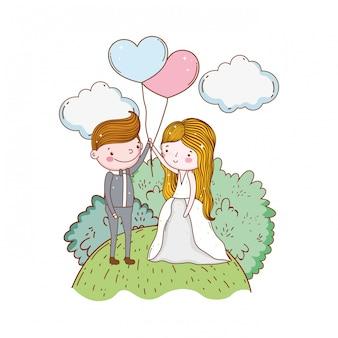 Casal casamento bonito dos desenhos animados