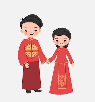 Casal chinês fofo em desenho animado vestido tradicional vermelho