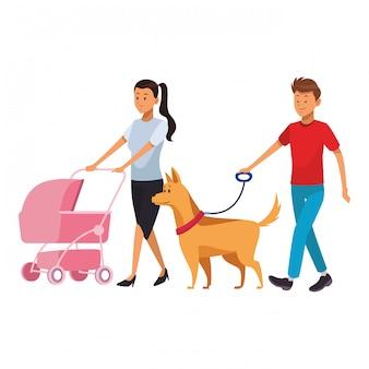 Casal com bebê e cachorro