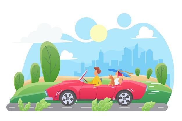 Casal com cachorro em carro cabriolet vermelho viajando