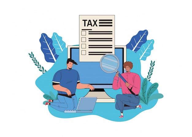 Casal com dia de imposto paga design ilustração
