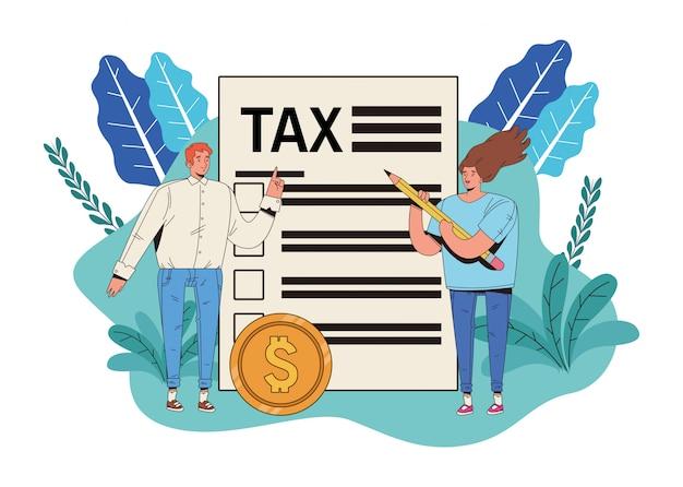 Casal com dia de imposto paga projeto de ilustração vetorial