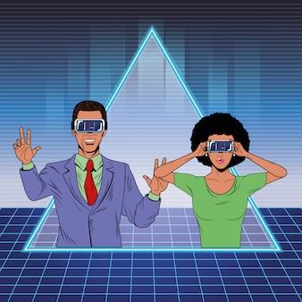 Casal com fone de realidade virtual