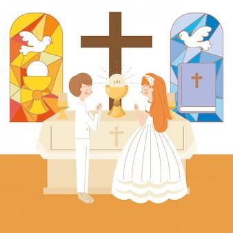 Casal com jesus eucahrist