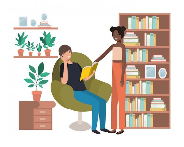Casal com livro no personagem de avatar de sala de visitas