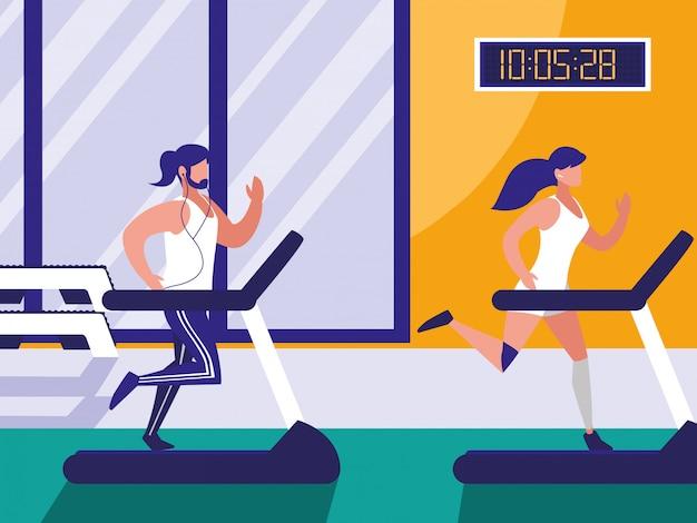 Casal com máquina de corredor no ginásio