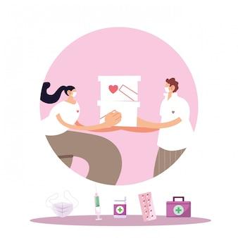 Casal com máscara e produtos médicos