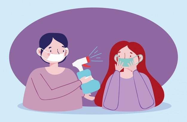 Casal com máscara médica e desinfetante em spray, prevenção pandêmica de coronavírus 19