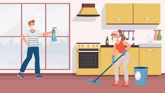 Casal com máscaras protetoras, limpeza de ilustração plana de apartamentos. medidas de proteção contra o coronavírus.