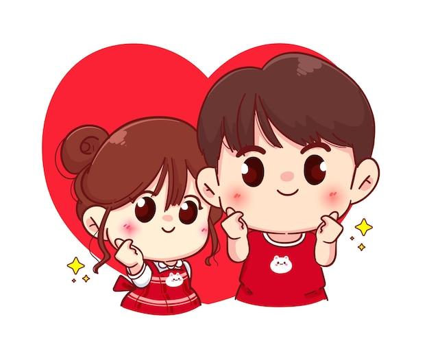 Casal com mini sinal de coração, feliz dia dos namorados, ilustração de personagem de desenho animado