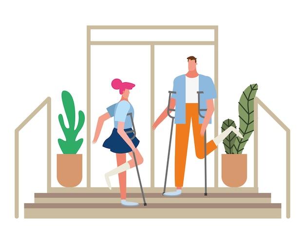 Casal com muletas desabilita o desenho da ilustração dos personagens