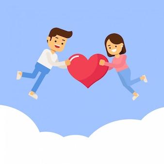 Casal com o coração nas mãos