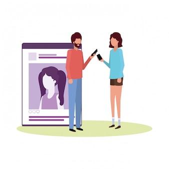 Casal com personagem de avatar de perfil de rede social