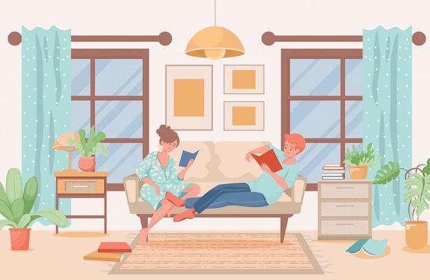 Casal com roupas domésticas deitado no sofá e lendo livros ilustração plana. design de interiores de sala de estar moderna.