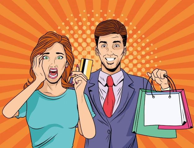 Casal com sacolas de compras e cartão de crédito estilo pop art
