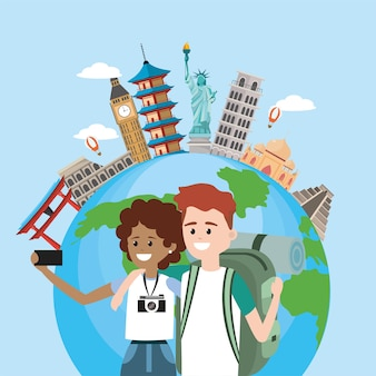 Casal com smartphone para viajar ao redor do mundo