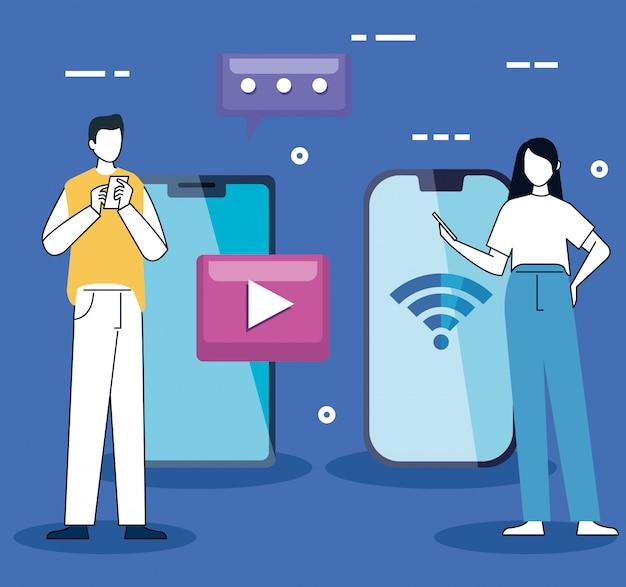 Casal com smartphones e ícones de mídias sociais