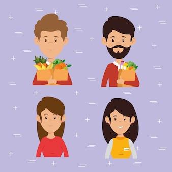 Casal com supermercado mantimentos