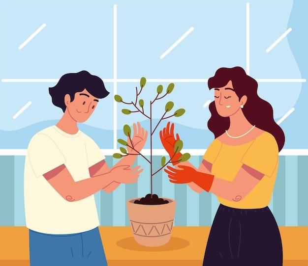 Casal com uma planta de casa