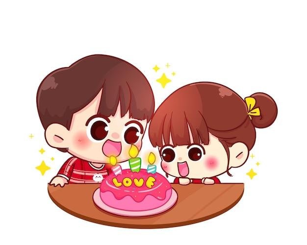 Casal comemora aniversário feliz com bolo, feliz dia dos namorados, ilustração de personagem de desenho animado