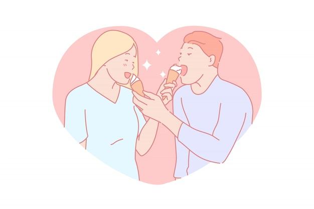Casal comendo ilustração juntos de sobremesa