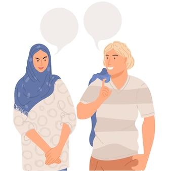 Casal conversando com balões de fala