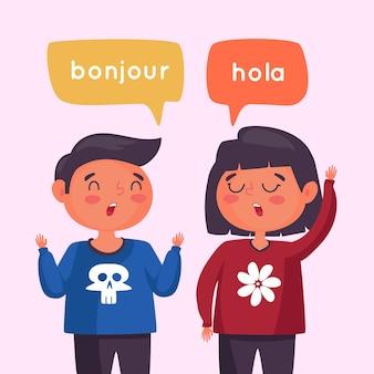 Casal conversando em diferentes idiomas