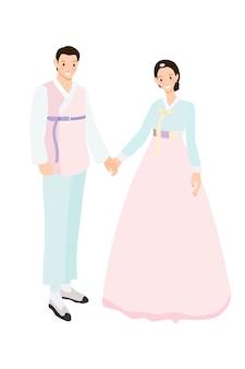 Casal coreano em trajes tradicionais para casamento ou estilo apartamento chuseok