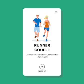 Casal corredor jovem e mulher desportista