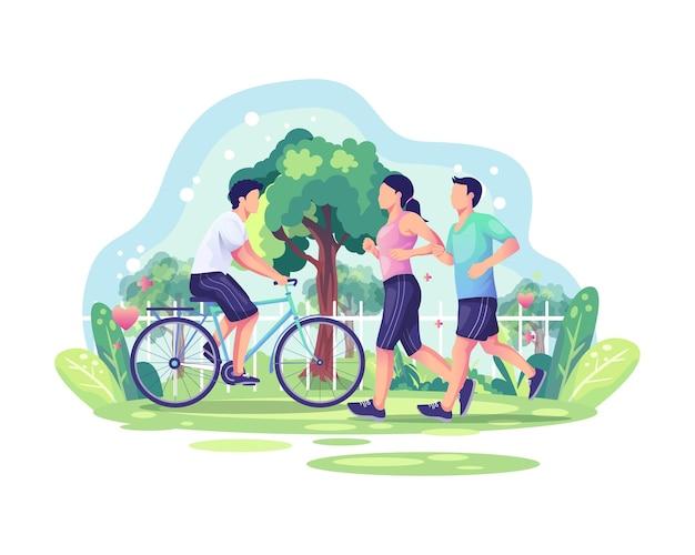 Casal correndo e uma pessoa andando de bicicleta no parque