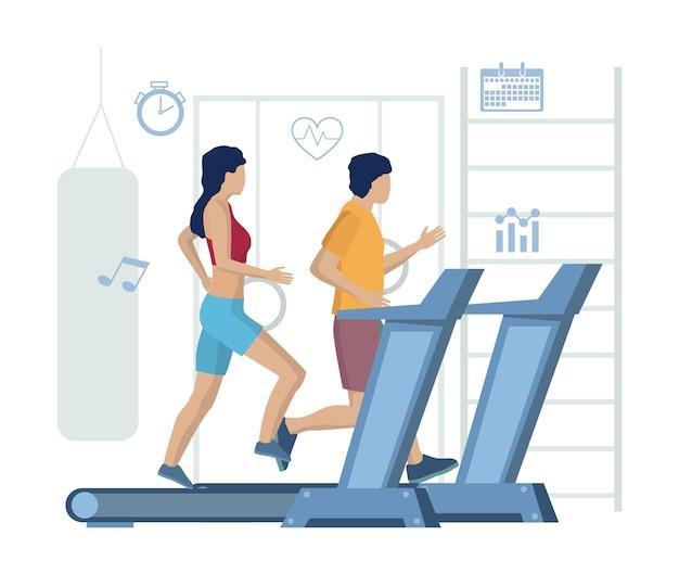 Casal correndo em esteiras vetoriais ilustração fitness ginásio esteira treino estilo de vida saudável spo ...