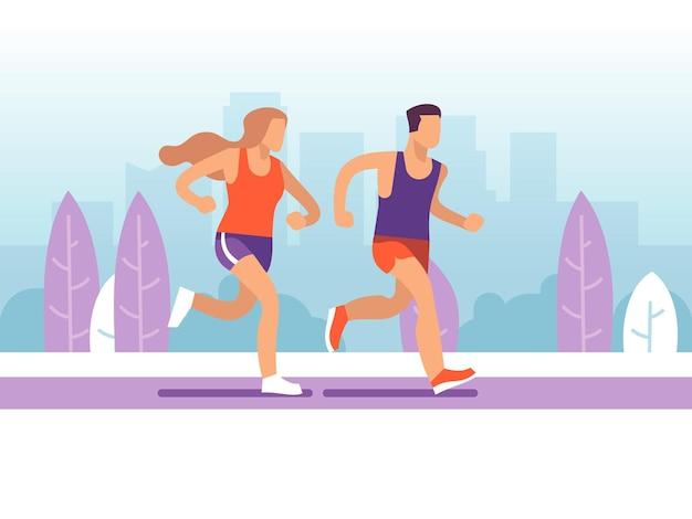 Casal correndo. homem e mulher correndo no parque, maratona de treinamento ativo matinal