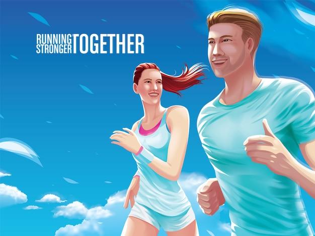 Casal correndo juntos