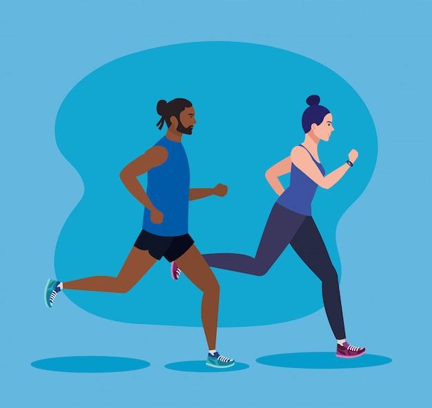 Casal correndo, mulher e homem correndo, casal no sportswear corrida ilustração design