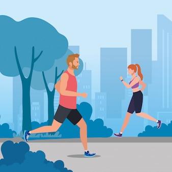 Casal correndo, mulher e homem correndo na paisagem urbana, casal no sportswear correndo