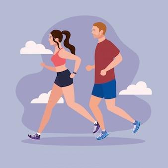 Casal correndo, mulher e homem correndo, pessoas no sportswear correndo